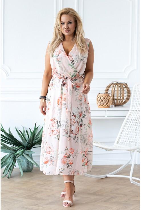 brzoskwiniowa sukienka w kwiaty duże rozmiary