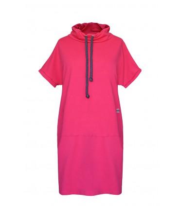 Amarantowa tunika/sukienka z półgolfem i troczkami - EVELYNE