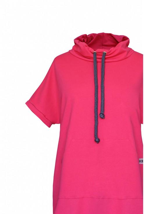 amarantowa dresowa sukienka xxl