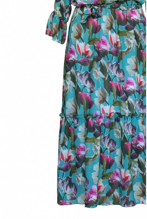zielona sukienka maxi w kwiaty xxl