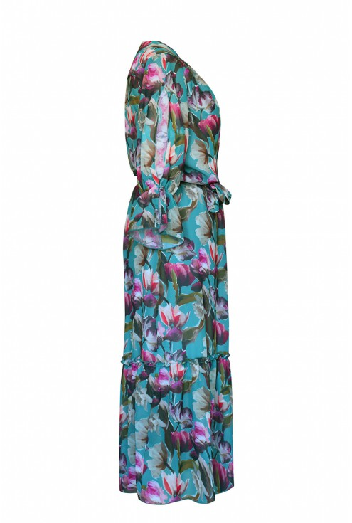sukienka maxi kolorowe kwiaty