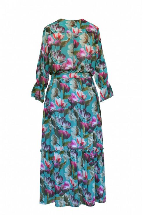 zielona sukienka maxi w kwiaty tył