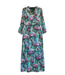 Zielona sukienka maxi w kolorowe kwiaty - RITA