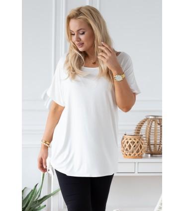 Bluzka z wiązaniem na boku DEANA - kolor biały
