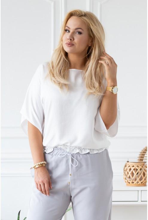 biała bluzka typu nietoperz duże rozmiary