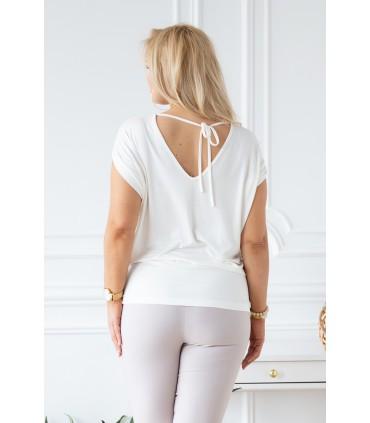 Biało-kremowa dzianinowa bluzka z krótkim rękawem - DORA