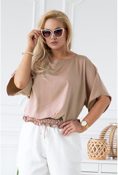 beżowa bluzka plus size połysk