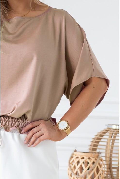 Beżowa bluzka z ozdobnym ściągaczem w talii - MALVINA
