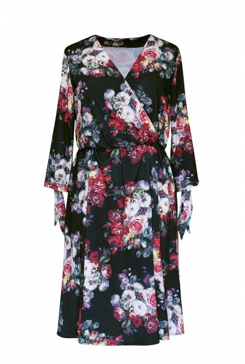 czarna sukienka w kolorowe kwiaty xxl
