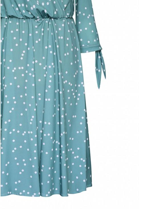 Miętowa sukienka w białe groszki - AGATHE