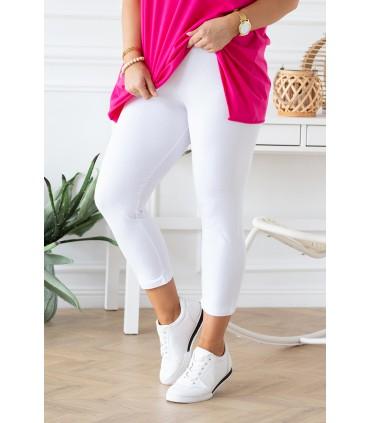 Białe letnie legginsy damskie plus size - długość 3/4