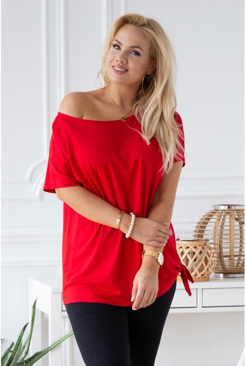 czerwona damska bluzka z wiązaniem xxl