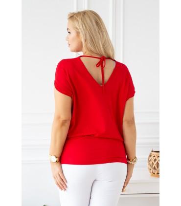 Czerwona dzianinowa bluzka - DORA