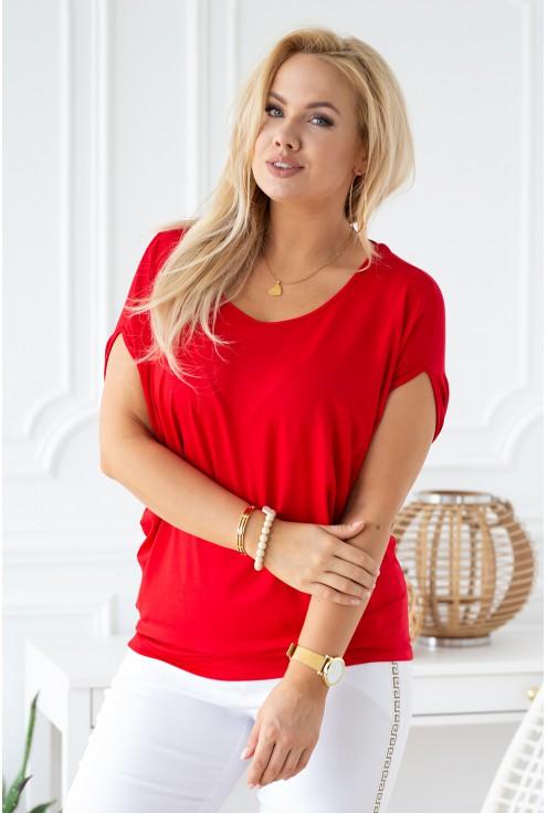 czerwona bluzka z wiązaniem z tyłu plus size