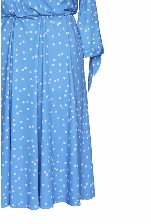 Baby blue sukienka z wiązaniem przy rękawach xxl