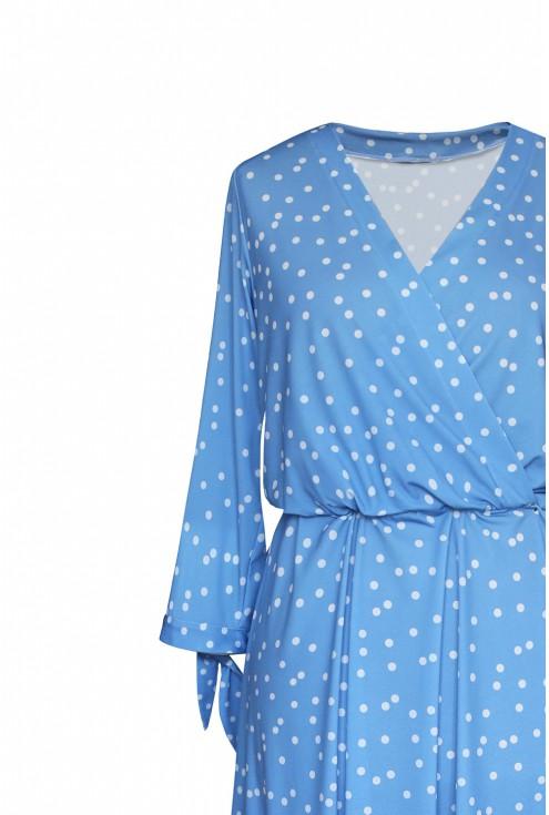Baby blue sukienka z wiązaniem przy rękawach