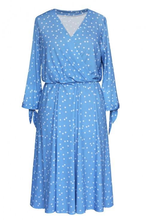 niebieska sukienka w białe groszki baby blue