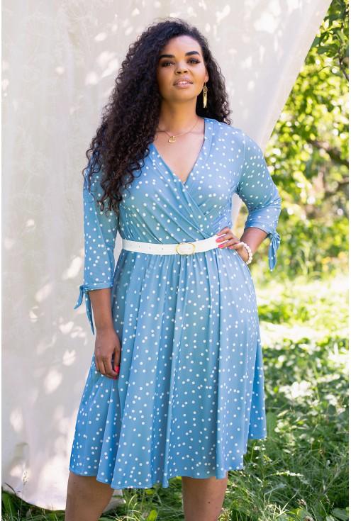 niebieska sukienka w białe groszki xxl
