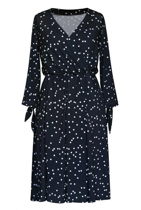 czarna sukienka w groszki xxl