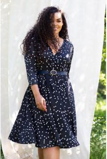 czarna sukienka w białe groszki