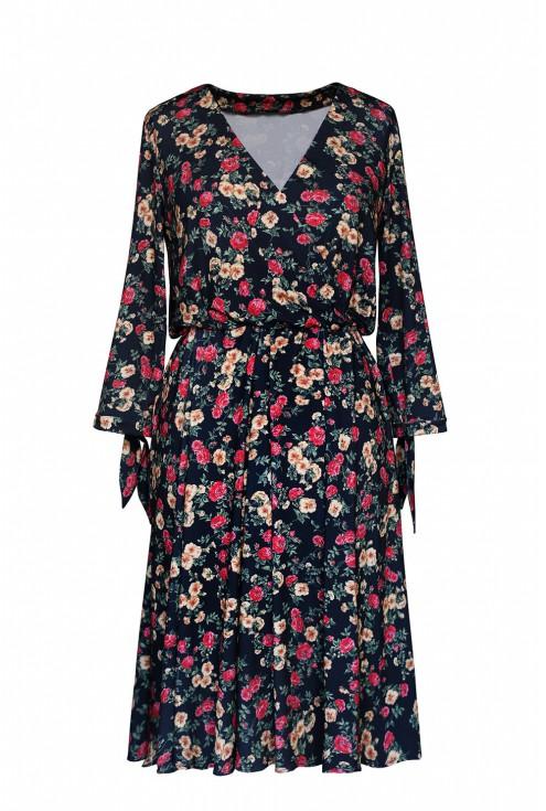 sukienka w drobne kwiaty łączka xxl