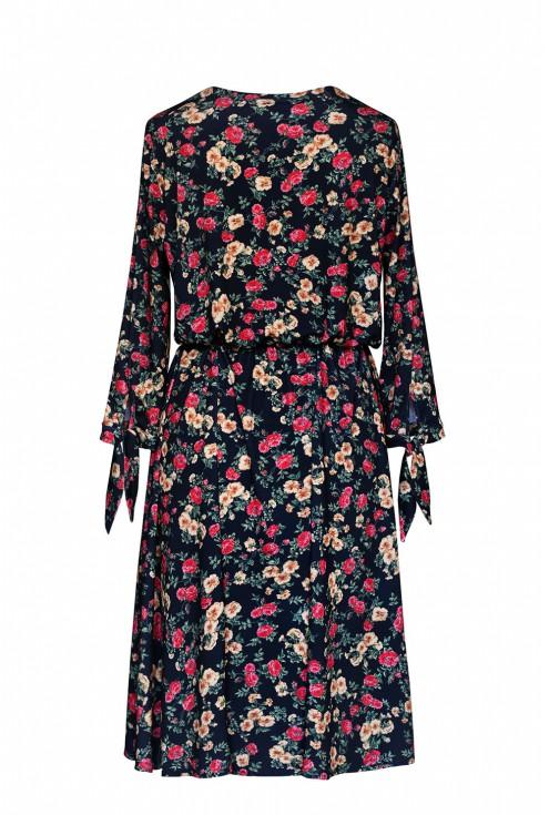 Czarna sukienka z wiązaniem przy rękawach - żółto-czerwone kwiaty - AGATHE