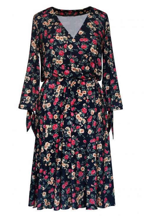czarna sukienka w drobne kwiatki xxl