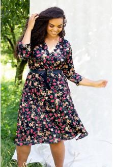 czarna sukienka kolorowe kwiatki xxl