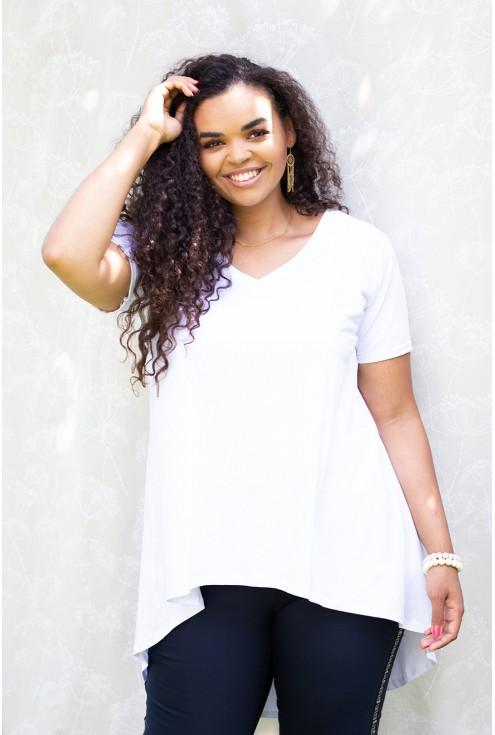 biała tunika dłuższy tył - plus size
