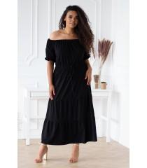 Czarna sukienka hiszpanka maxi z falbankami - DOROTHE