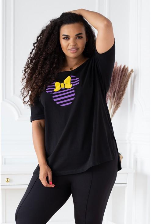 czarna bluzka z nadrukiem plus size