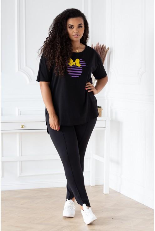 czarna bluzka z krótkim rękawem duże rozmiary