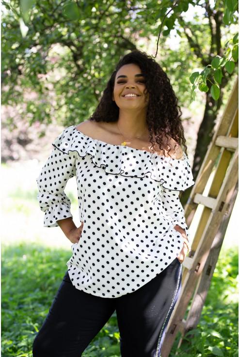 biała bluzka hiszpanka w kropki - duże rozmiary
