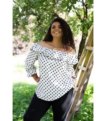 Biała bluzka hiszpanka w kropki - ISABELLA