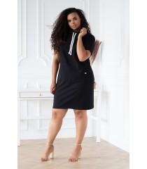 Czarna tunika/sukienka z półgolfem i troczkami - EVELYNE