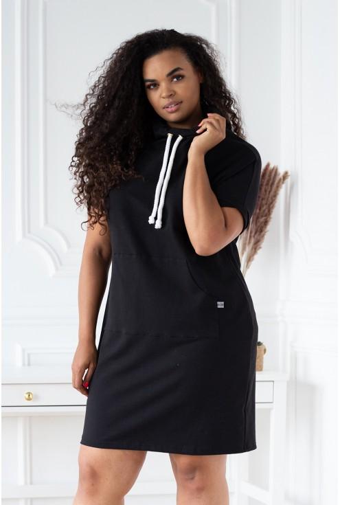 czarna tunika/sukienka z ozdobnymi troczkami