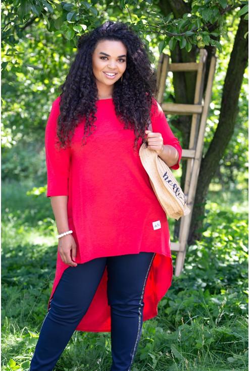 czerwona tunika plus size
