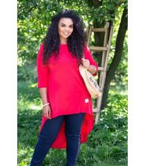 Czerwona gładka tunika z dłuższym tyłem - GINETTE