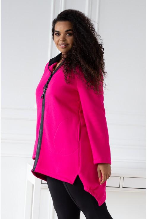 Fuksja asymetryczna bluza z kapturem - LUCETTE