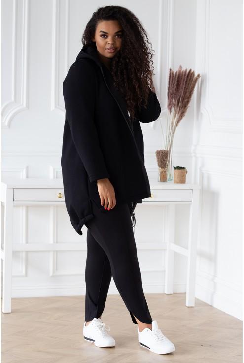 Czarna asymetryczna bluza z kapturem - LUCETTE
