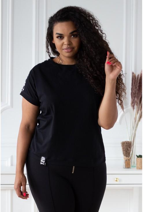 Czarna bluzka z ozdobnymi taśmami - SONIA