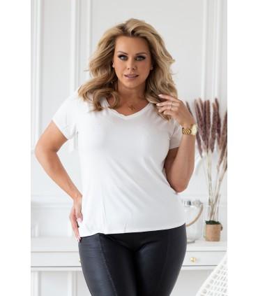 Biała bluzka z dekoltem V - IRENE