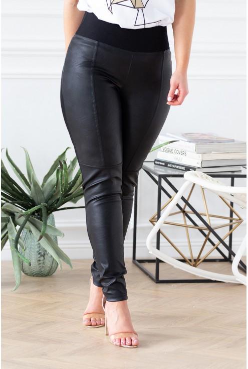 Polskie czarne legginsy plus size łączone z eko skórą - ELEN