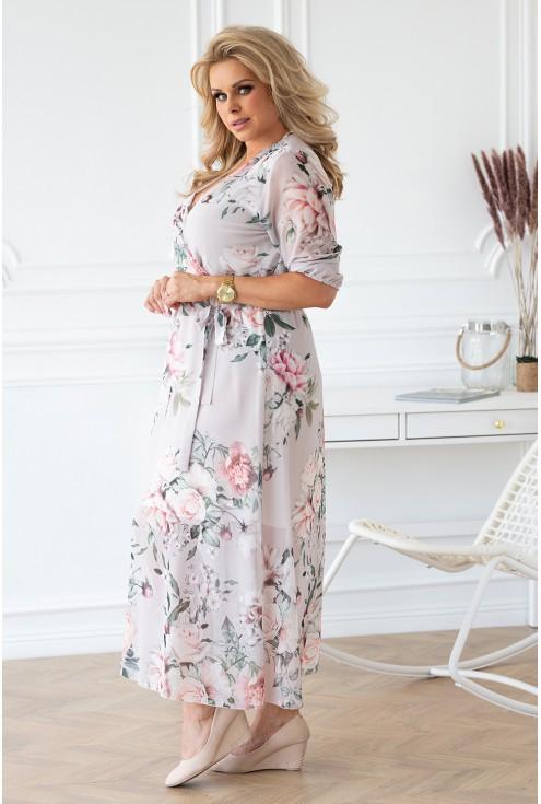 szaro-kremowa sukienka maxi xxl