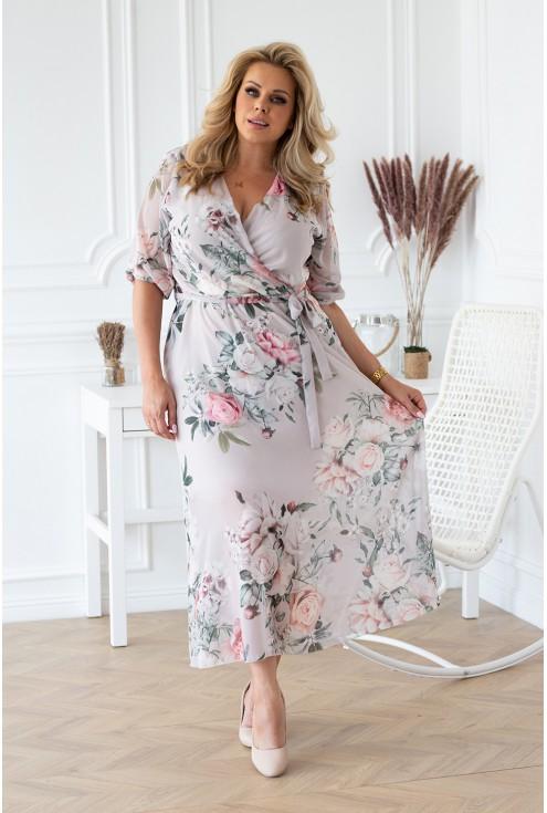 szaro-kremowa sukienka maxi w kwiaty xxl