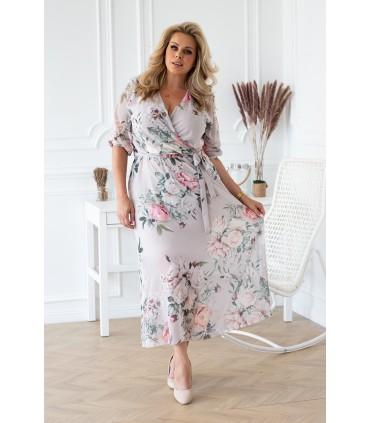 Szaro-kremowa sukienka maxi w kwiaty z kopertowym dekoltem - ADELA