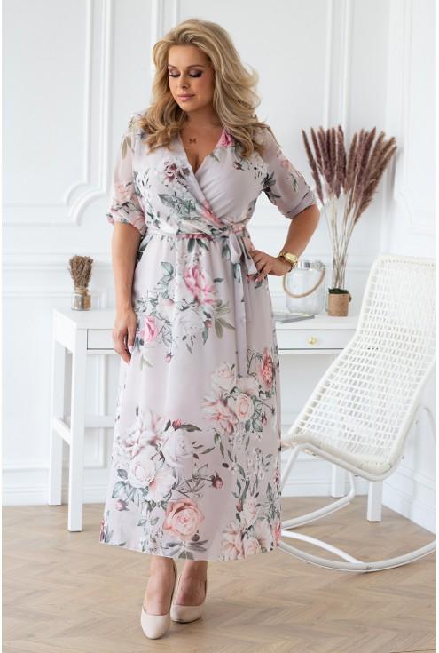szaro-kremowa sukienka sukienka maxi w kwiaty