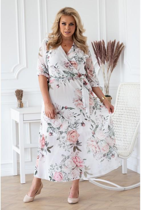 biało kremowa sukienka maxi xxl