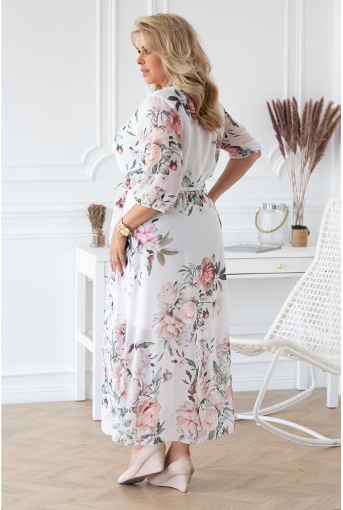 bok biało kremowej sukienki maxi