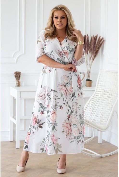 biało-kremowa sukienka maxi w kwiaty